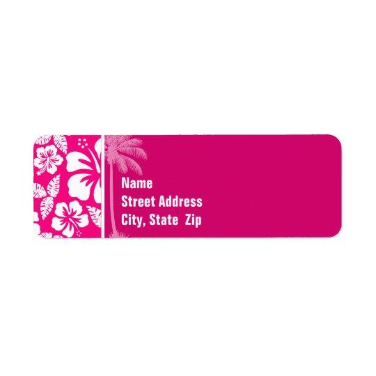 Ketmie tropicale rose lumineuse étiquettes d'adresse retour