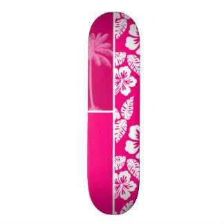 Ketmie tropicale rose lumineuse plateau de planche à roulettes