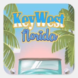 Key West, affiche vintage de voyage de la Floride Sticker Carré