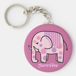 Keychain mignon avec l éléphant rose et le nom