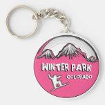 Keychain rose de surf des neiges de thème du Color