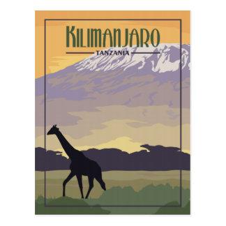 Kilimanjaro Tanzanie - carte postale vintage de