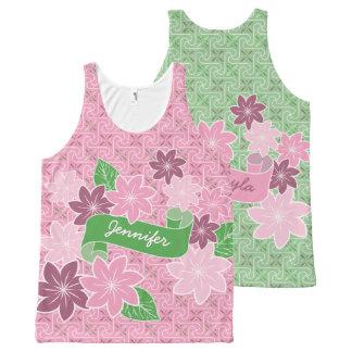 Kimono rose du Japon de bannière de vert de Débardeur Tout-imprimé