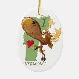 """Kirby les orignaux Vermoosin """"je coeur Vermont """" Ornement Ovale En Céramique"""