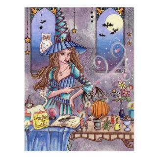 Kirra - carte postale de sorcière, de chat et de