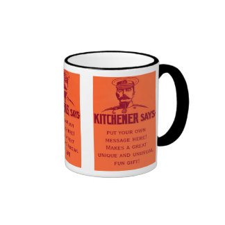 Kitchener dit le poster vintage personnalisable mug ringer