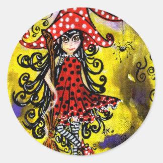 Kitsy la sorcière (couleur) sticker rond