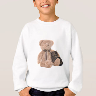 kitten in the arms of a teddy bear sweatshirt