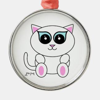 Kitty blanc ornement rond argenté