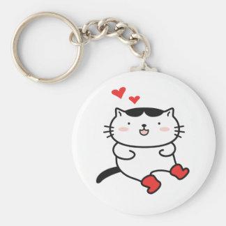 Kitty dans des porte - clés de bottes porte-clé rond