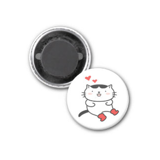 Kitty dans le magnet de bottes magnet carré 2,50 cm
