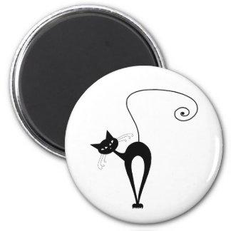 Kitty fantaisie noir 3 magnet rond 8 cm