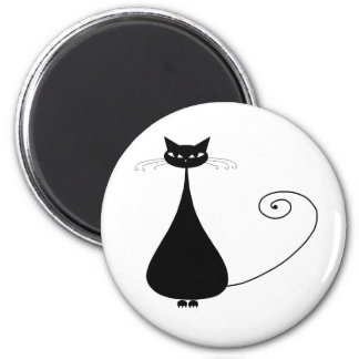 Kitty fantaisie noir 4 magnet rond 8 cm