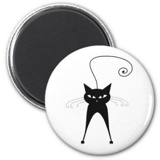 Kitty fantaisie noir 6 magnet rond 8 cm