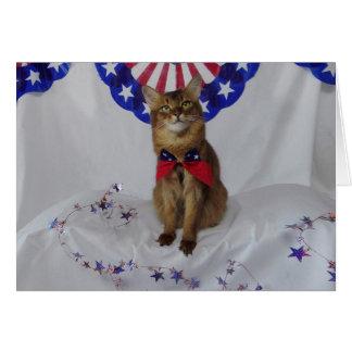 Kitty patriotique pour le quatrième de juillet cartes