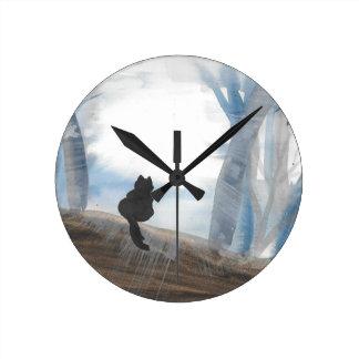 Kitty un matin brumeux horloge ronde