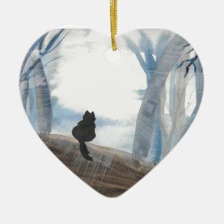 Kitty un matin brumeux ornement cœur en céramique