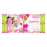 Kiwi de rose d'anniversaire de thème de cirque de  invitations personnalisables