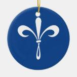 KKG Fleur de Lis : Bleu profond Ornement Rond En Céramique