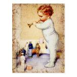 Klaxon de soufflement de bébé roux aux soldats cartes postales