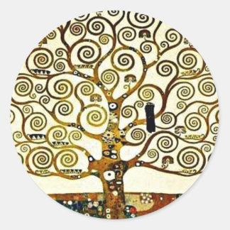 Klimt - l'arbre de la vie, frise de Stoclet Sticker Rond