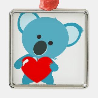 Koala coeur ornement carré argenté
