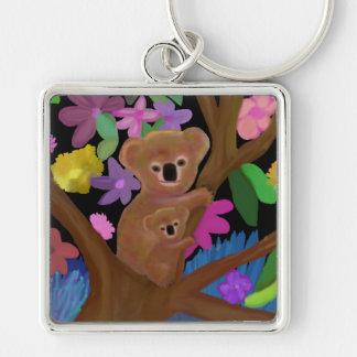 Koala dans l'intérieur porte-clé carré argenté