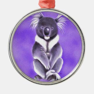 Koala de Bouddha Ornement Rond Argenté