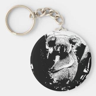 Koala en noir et blanc porte-clé rond