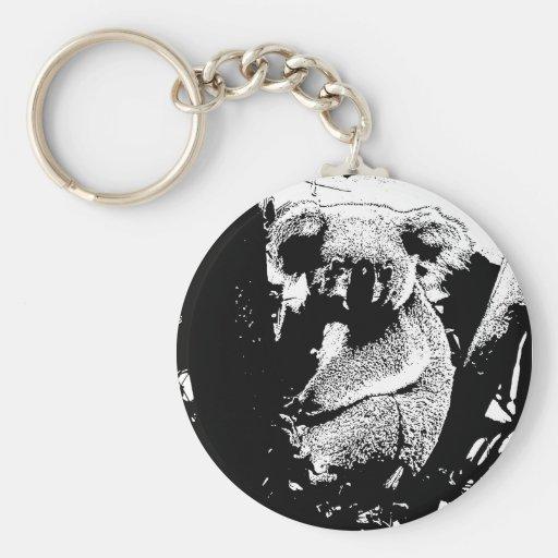 Koala en noir et blanc porte-clefs