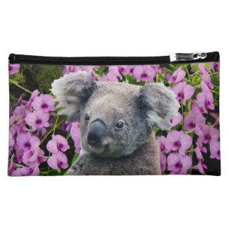 Koala et orchidées moyenne trousse de maquillage