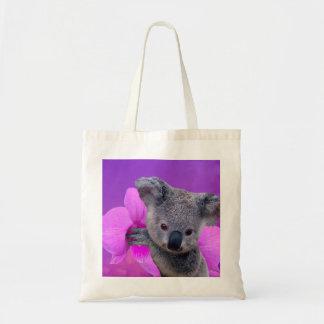 Koala et orchidées tote bag