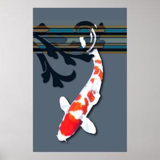 Kohaku Koi dans des usines décoratives d'étang Poster
