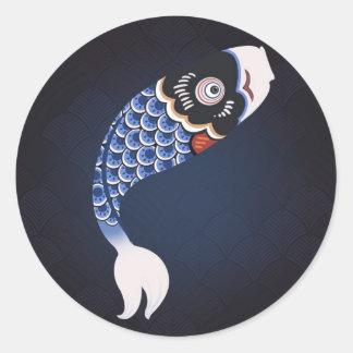 Koinobori - drapeau japonais bleu de poissons sticker rond