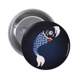 Koinobori - drapeau japonais bleu de poissons badge
