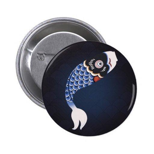 Koinobori - drapeau japonais bleu de poissons pin's avec agrafe