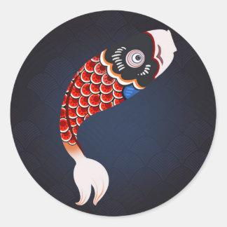 Koinobori - drapeau japonais rouge de poissons sticker rond