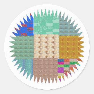 KOOLshades : ÉTINCELLE de patchwork de tissu Sticker Rond