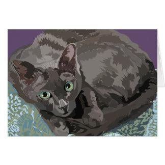 Korat la carte de voeux de chat de bonne chance