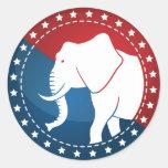 Kozzi-illustrated-image-of-a-elephant-badge-5000x5 Sticker Rond
