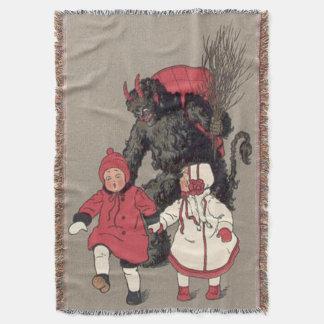 Krampus chassant le commutateur d'enfants couvre pied de lit