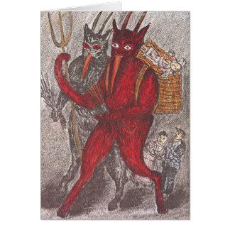 Krampus prenant l'enfant carte de vœux