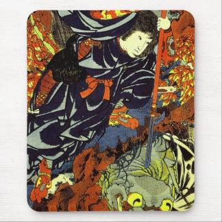 Kuniyoshi Kamigashihime poignardant une araignée Tapis De Souris