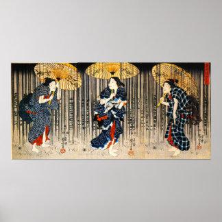 Kuniyoshi trois femmes avec l'affiche de parapluie posters
