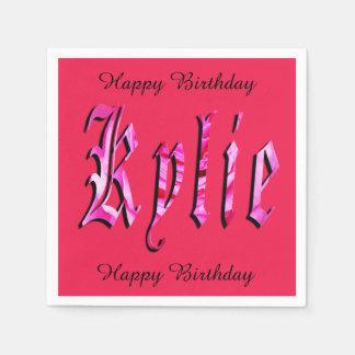 Kylie, nom, logo, serviettes de papier roses serviettes en papier