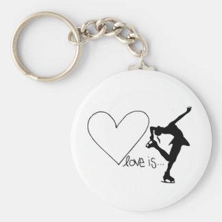 L amour est patinage artistique patineur de fille porte-clés