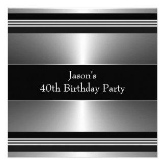 L argent noir équipe la quarantième fête d anniver cartons d'invitation