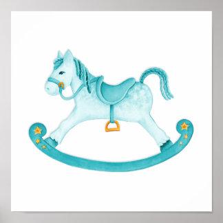 L art d aquarelle de cheval de basculage badine posters