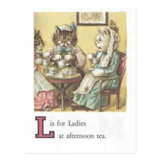 L est pour la carte postale de dames