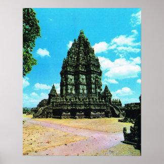 L Indonésie vintage Java temple hindou de Pramba Posters